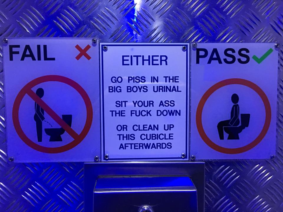 Sign in Gents Toilet at Dive Bar